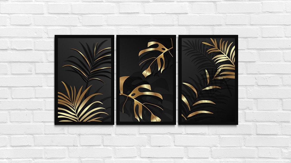 Kit folhas douradas 3