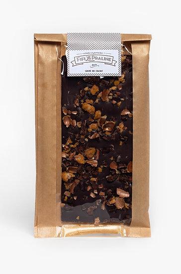 Tablette chocolat noir gruée de cacao