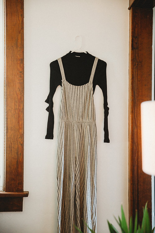 Cross Back Striped Overalls with Open Elbow Turtleneck