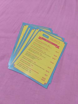 Panfletos de cardápio