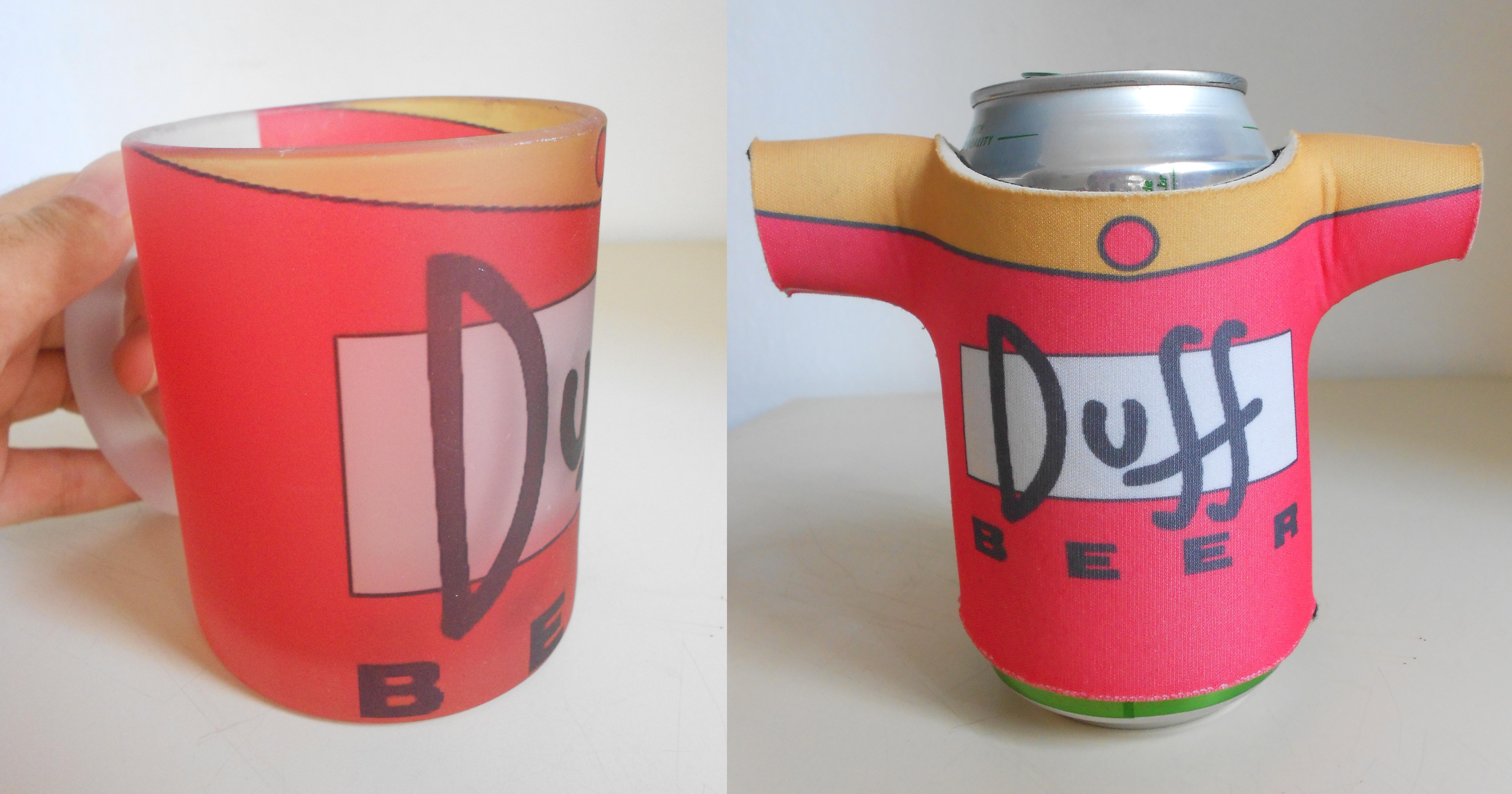 Caneca vidro + porta lata Duff