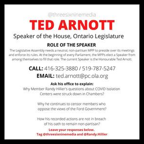 SPEAKER TED ARNOTT CONACT CARD