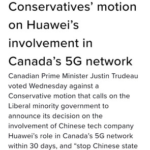 TRUDEAU SHUTS DOWN MOTION TO BAN HUAWEI IN CANADA