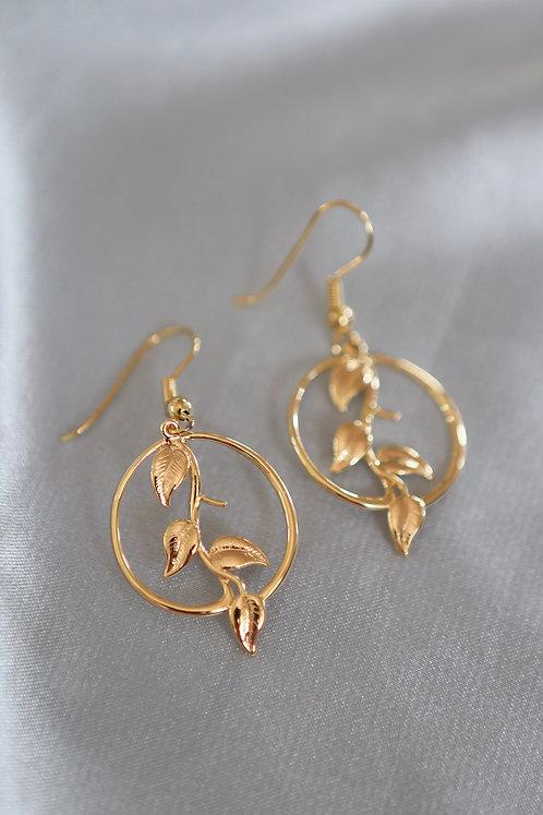 """""""Thrive"""" Leaf Hoop Dangle Earrings"""