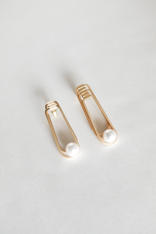 Safety Pin Pearl Stud Earrings