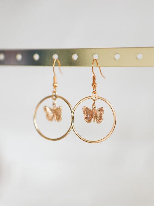 """""""Flutter Effect"""" Butterfly Dangle Hoop Earrings"""