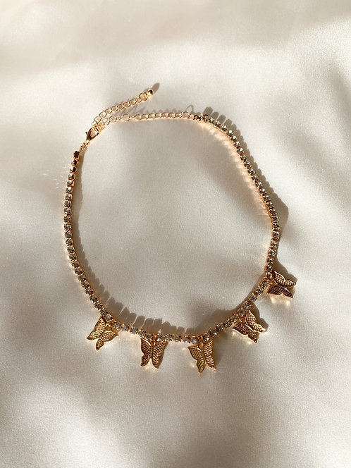 """Princess"" Butterfly Tennis Chain Choker Necklace"