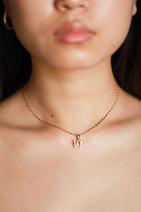 """""""Flutter Effect"""" Butterfly Charm Necklace"""