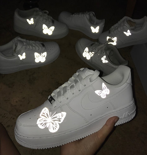 White/Grey Reflective Butterfly AF1