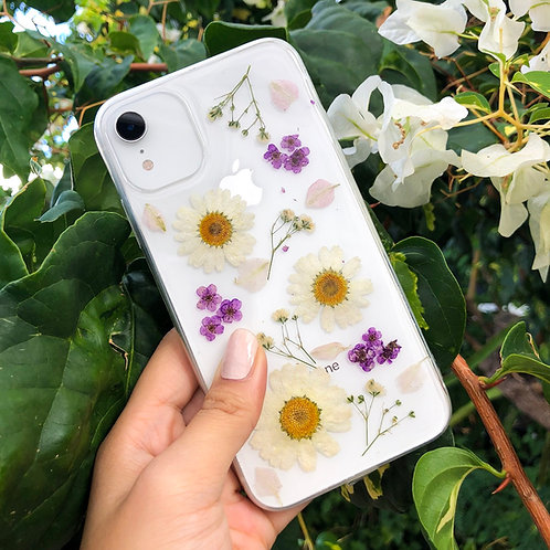 White Daisy & Purple Pressed Flower Clear Glitter iPhone Case