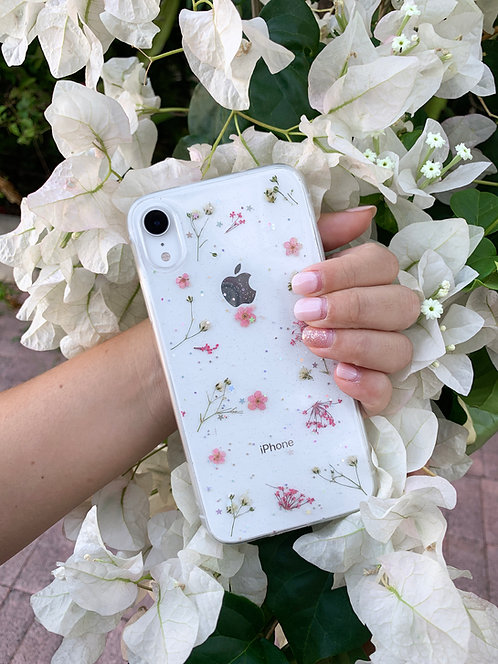 Pink Pressed Flower Clear Glitter iPhone Case