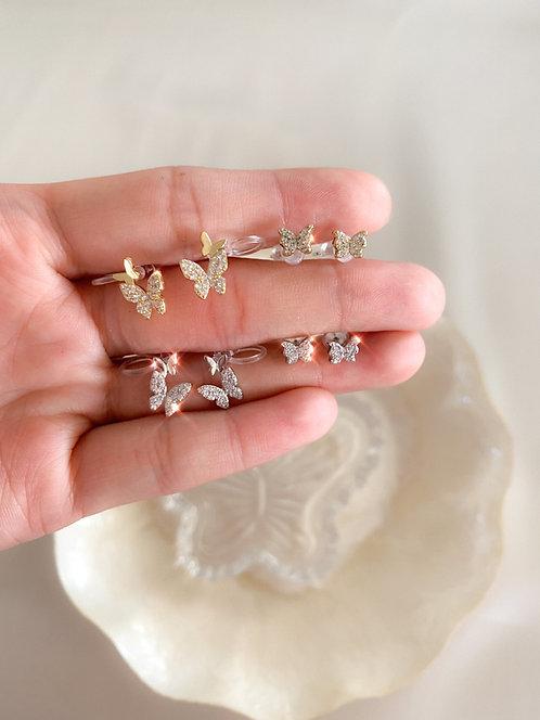 """""""Butterfly Garden"""" Crystal Stud/Cuff Earrings"""