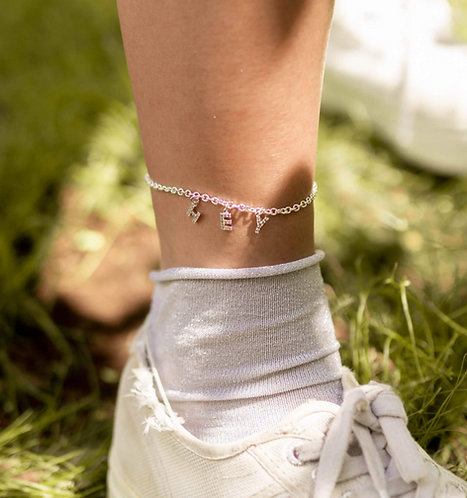 """Let's Get Personal"" Custom Spaced Name Crystal Anklet"
