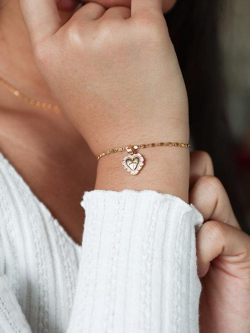 """""""Renaissance"""" Vintage Heart Charm Bracelet"""
