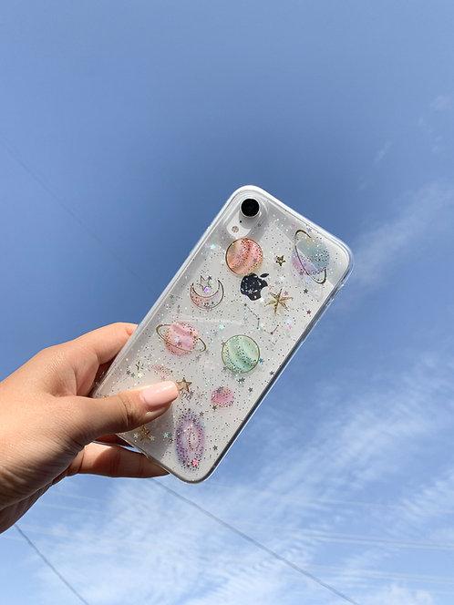 Celestial Glitter Clear iPhone Case