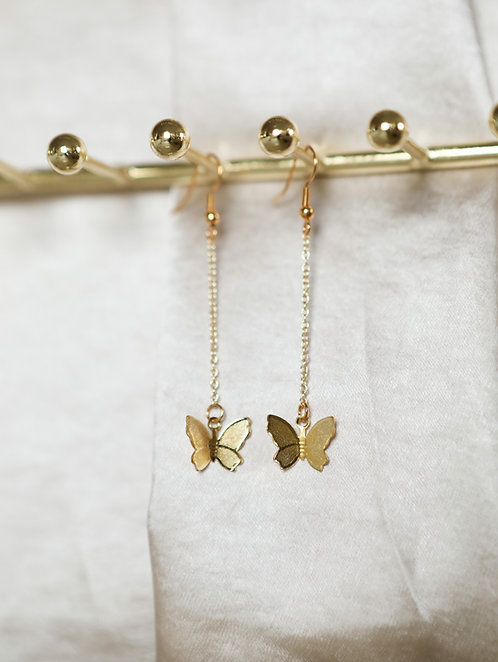 """Lovebug"" Butterfly Dangle Chain Earrings"