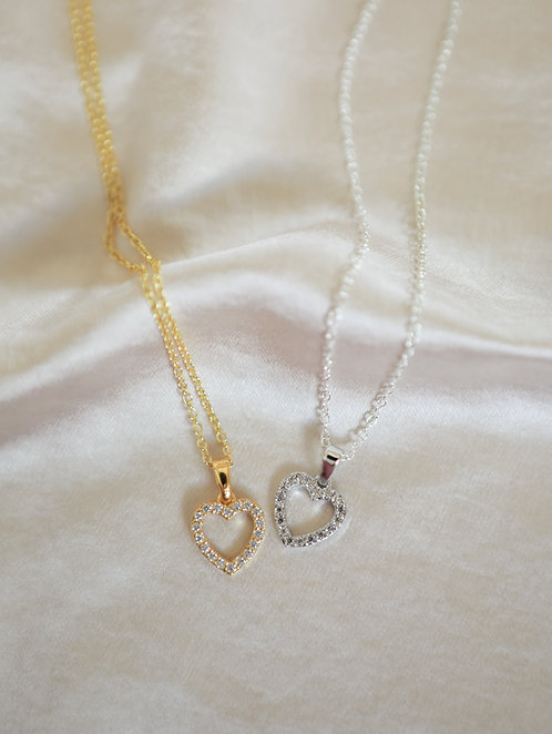 """Yours Truly"" Crystal Heart Charm Necklace"