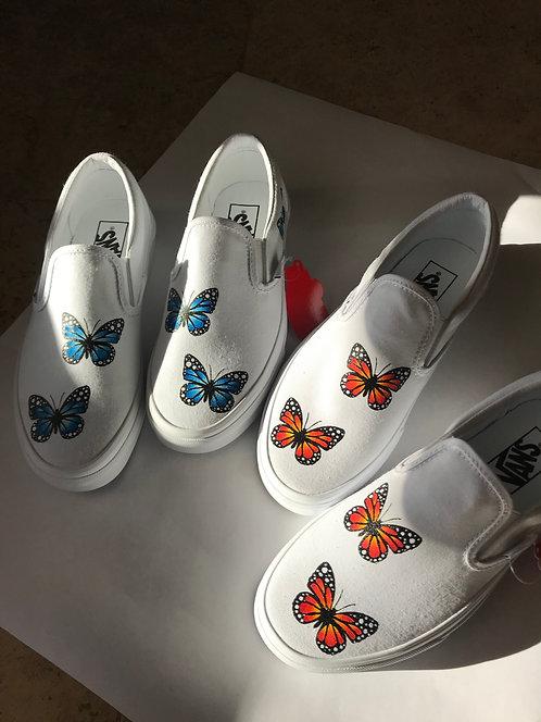 Painted Butterfly Vans Slip-Ons