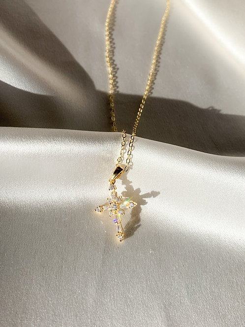 """Blessed"" Crystal Cross Necklace"
