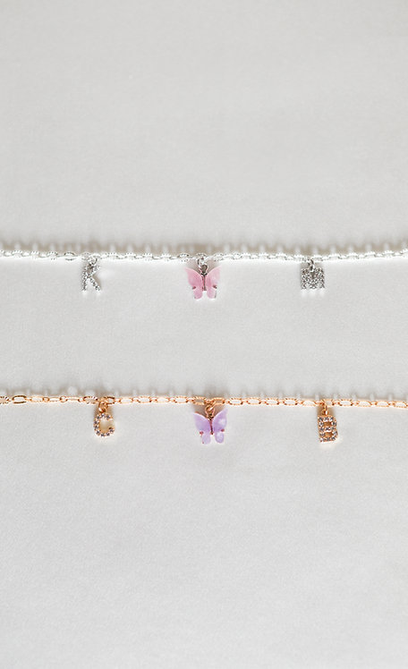 """Mariposa Kisses"" Custom Crystal Initial Butterfly Anklet"