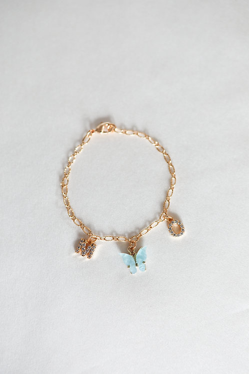 """Mariposa Kisses"" Custom Crystal Initial Butterfly Bracelet"