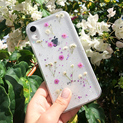 Purple Pressed Flower Clear Glitter iPhone Case
