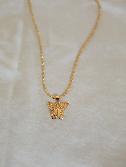 """Decadence"" Gold Filled Butterfly Necklace"