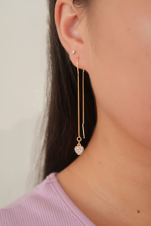 """Blushing"" Crystal Heart Threader Earrings"