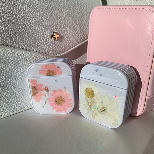 Pressed Floral Glitter AirPods Case