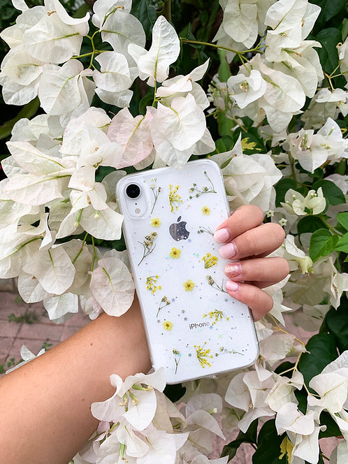 Yellow Pressed Flower Clear Glitter iPhone Case