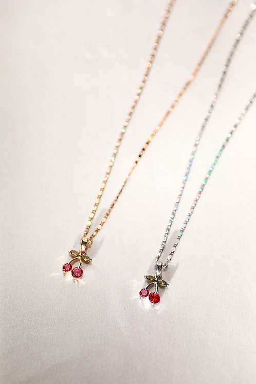 """""""Cherry Bomb"""" Crystal Charm Necklace"""
