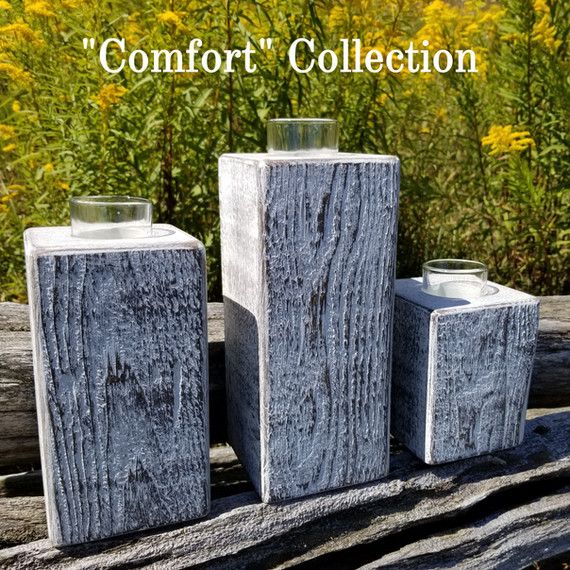 Set of 3 rough cut timber candle holders