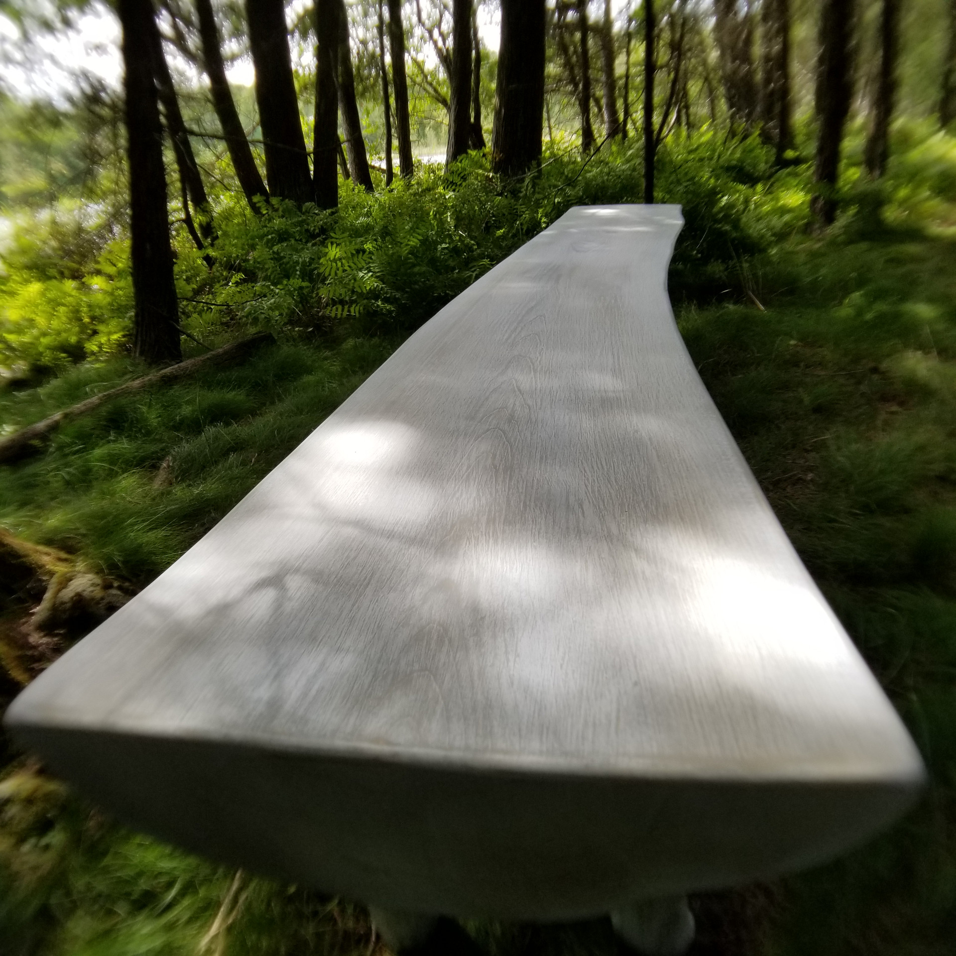 Curvy live edge and limb bench