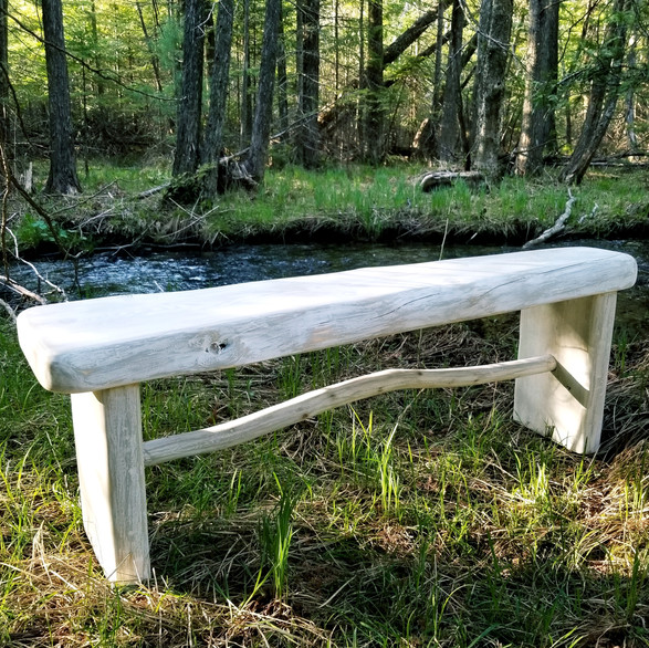 """Calm"" Collection weathered bench by stream"