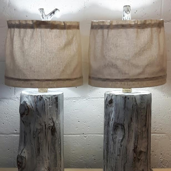 Stump lamps with handmade finial and shade/pair