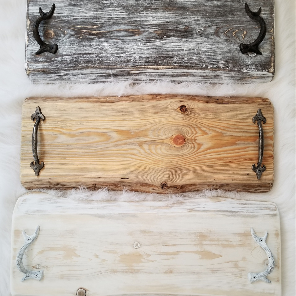 live edge Serving trays with handles