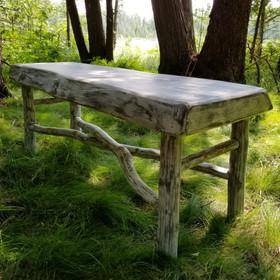 Live edge and crossed limb bench