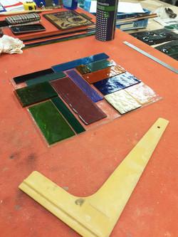 Plaques de verre en création
