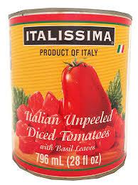 Italian unpeeled Diced Tomatoes Italissima