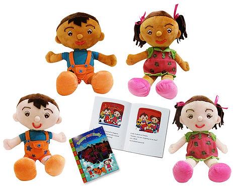 All 4 dolls & 1 book