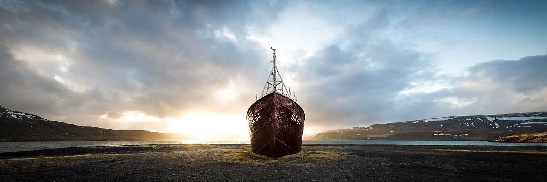 Gestrandet, Westfjorde, Island