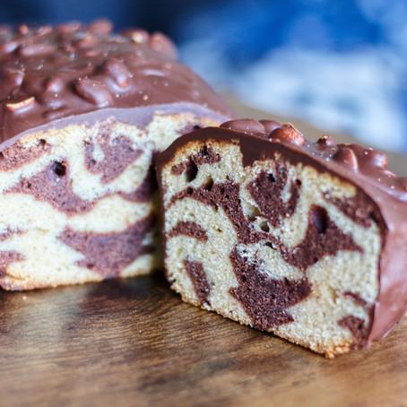 Peanut chocolate marble cake