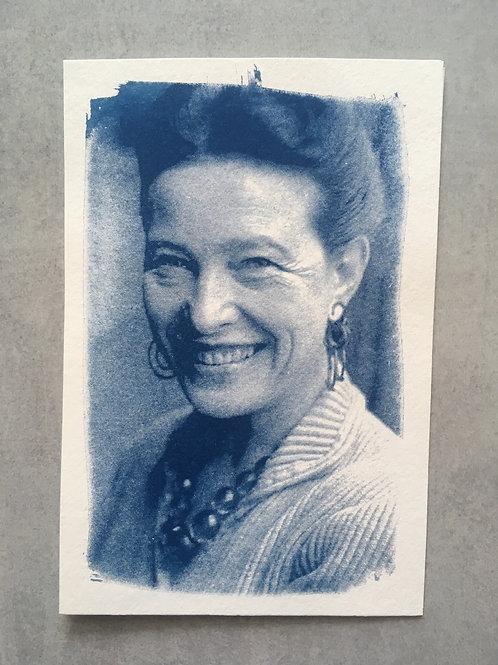 Mulheres incríveis: Simone de Beauvoir_ Nuvem cianotipia