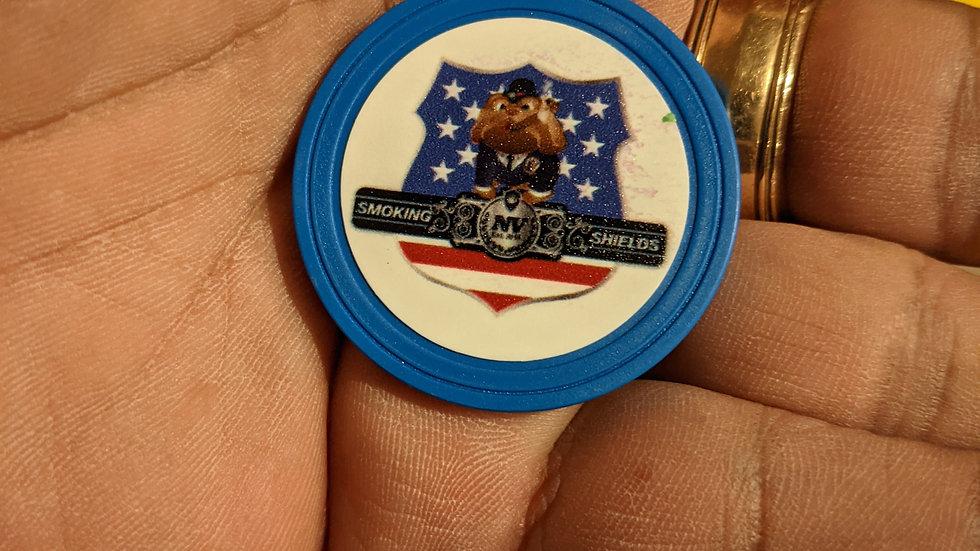 Smoking Shields Poker Chip