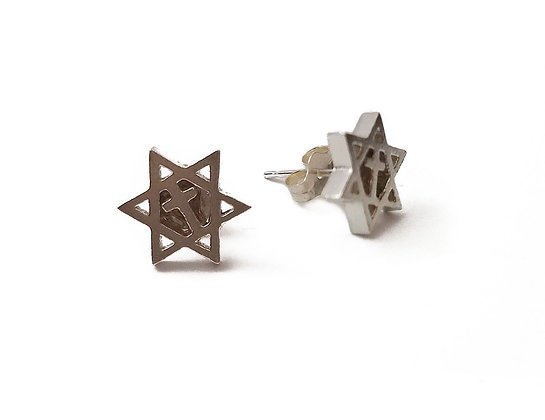 Jewish Star & Cross Studs
