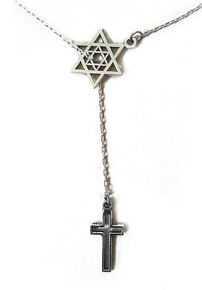 Jewish Star & Cross Necklace