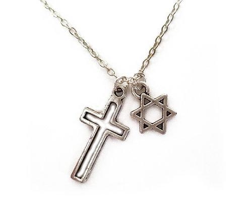 Jewish Star & Cross Necklace