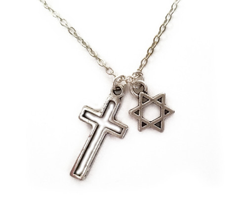 Jewish star cross necklace wear this delicate star of david and cross pendant necklace to proudly embrace your respect for both judaism and christianity whether your parents are aloadofball