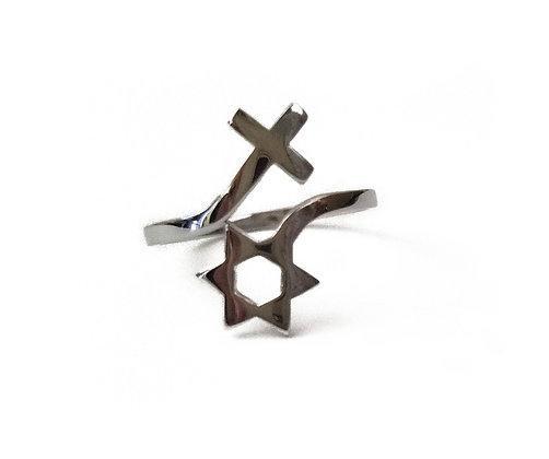 Jewish Star & Cross Ring