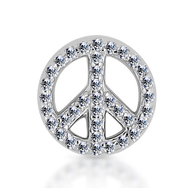 14k White Diamond Peace Sign